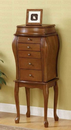 (Jewelry Armoire Queen Anne Style in Antique Cherry Finish)