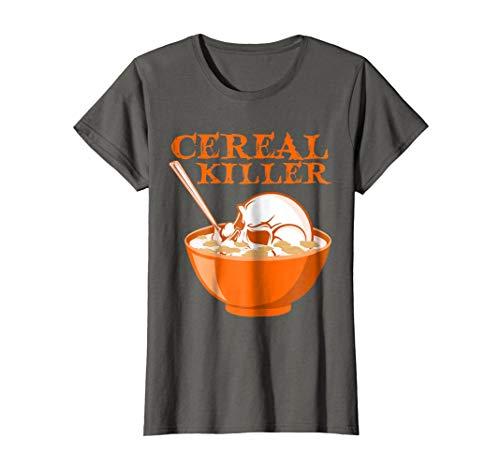 Womens Cereal Killer T-Shirt-Serial Killer Skull Pun Halloween Tee Small Asphalt