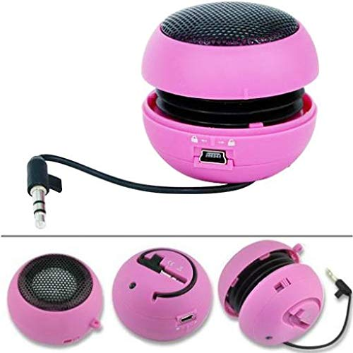 Wired Portable Loud Speaker Pink Multimedia Audio System w Built-in Battery Compatible with LG V40 ThinQ by TNODI