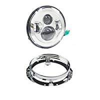 """Daymaker 7 inch Round LED Headlight High Low Beam with 7"""" Mounting bracket ring support forfor Harley Davidson Road King Motorcycle(Chrome)"""