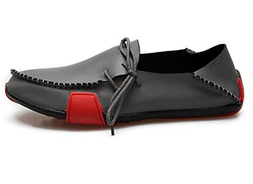 Fangsto Mens Mocassini Pantofole In Vera Pelle Scarpe Basse Slip-on Nero