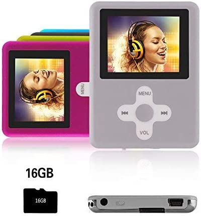 Btopllc Reproductor MP3,Reproductor MP4 16GB,Reproductor de música portátil MP3,Reproductor de Video Reproductor de música USB,MP3/MP4 Reproductor Multimedia/Reproductor Multimedia clásico silverwhite