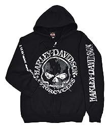 Harley-Davidson Men\'s Zippered Sweatshirt Jacket, Willie G Skull 30296647 (L)