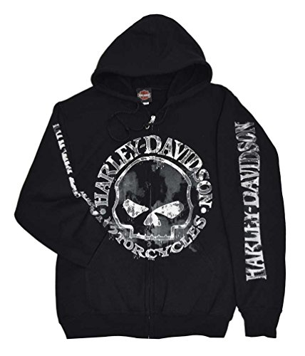 Harley-Davidson Men's Zippered Sweatshirt Jacket, Willie G Skull 30296647 (3XL) Black