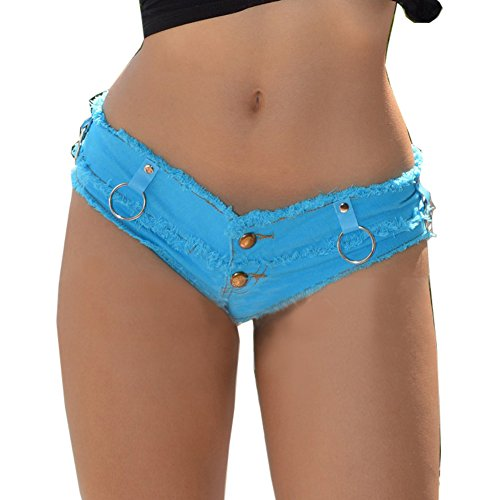 54b2bbe31d Yollmart Womens Low Rise Mini Denim Shorts Denim Thong Cheeky Jeans Shorts  delicate