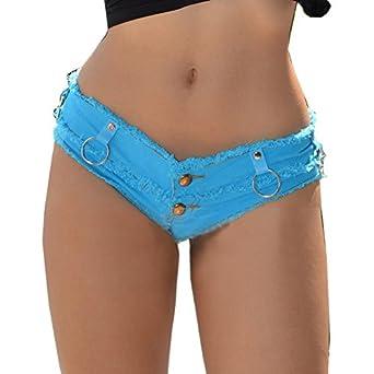 Yollmart Womens Low Rise Mini Denim Shorts Denim Thong