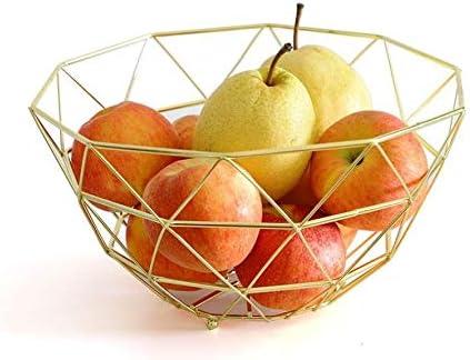 Baorio Estilo nórdico Hierro Forjado Fruta Cesta Metal Fruit Bowl Basket Frutero de Alambre de metal Cuenco de Verduras Plato de Fruta Hueco-Dorado