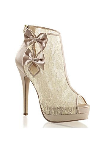 Satin para 42 lace Champagne mujer Botas Pleaser xX5wnqvP