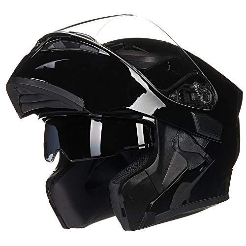 ILM Motorcycle Dual Visor Flip up Modular Full Face Helmet DOT with LED Light (L, GLOSS BLACK - - Helmet Visor Dual