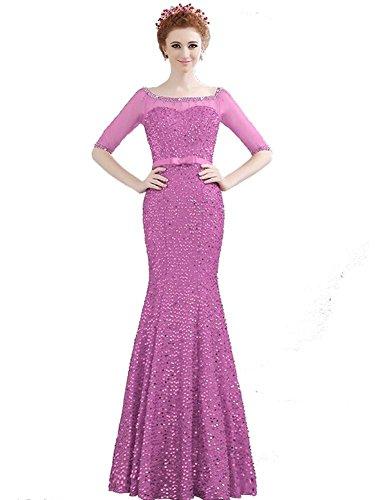 Boot Schulterfrei Transparent Ausschnitt Pink Abendkleider Lange Emily Beauty halbe Hülsen qFXXt1