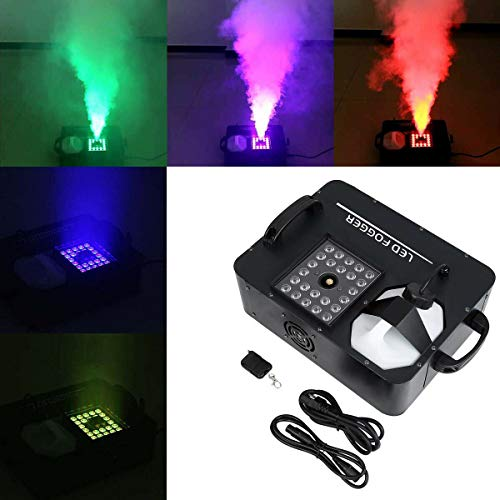 Tengchang 1500W Party Fog Machine RGB 3in1 24 LED Light DMX Smoke DJ Stage Show Wireless Remote