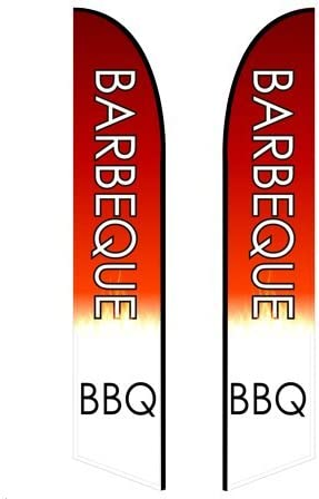 Barbeque - Style 2 Single-Sided, Poles and Cross Base Included 13.5ft Feather Banner