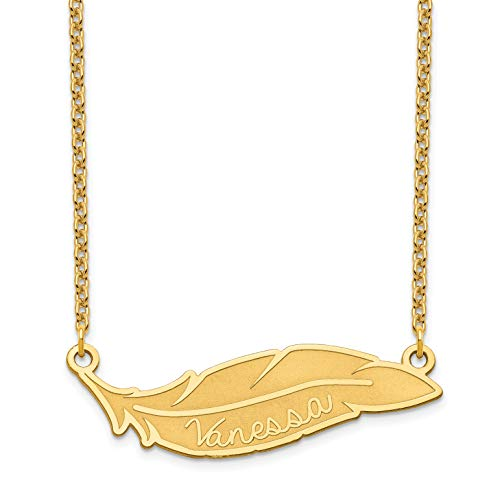 14K Yellow Gold Feather Nameplate Personalized Necklace 9.43 mm x 35.05 mm ()