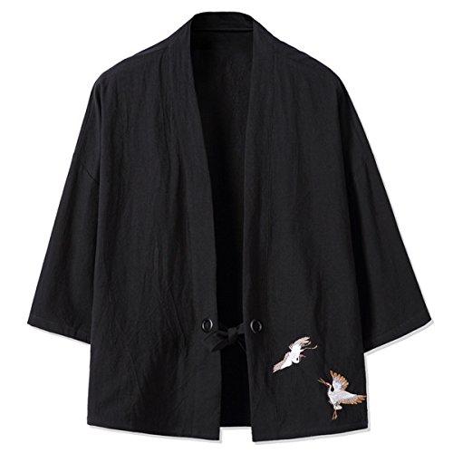 manga para Abrigo 3 mao capa Básico Negro cuello Mirecoo 4 hombre PXqHw8