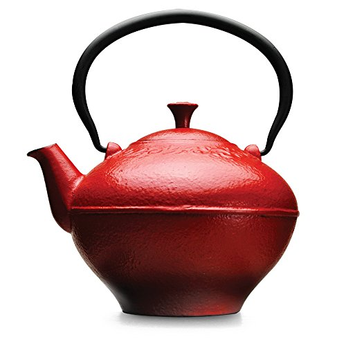 cast iron teapot red - 9