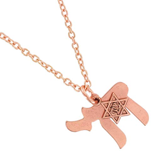 Rose Gold Tone Pendant Necklace Jewish Chai Star Of David Charm Necklace For Women