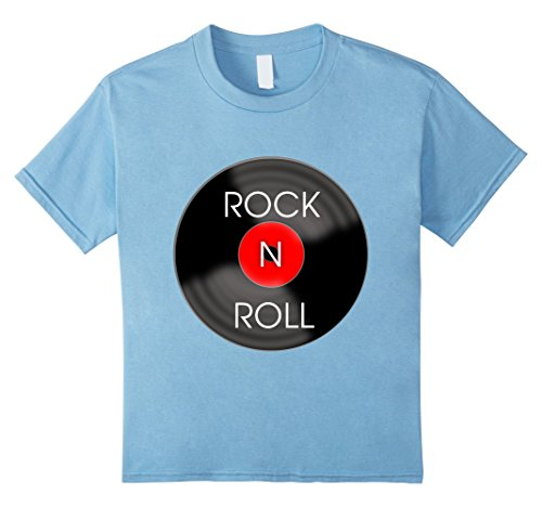 50s Clothes For Kids (Kids 1950s Rock and Roll Record T-Shirt 8 Baby Blue)