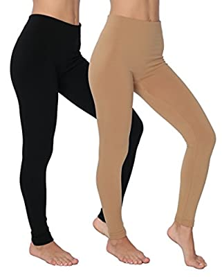 Active Club Solid Color Brushed Fleece Tights Legging Many Packs-regular & Plus Size