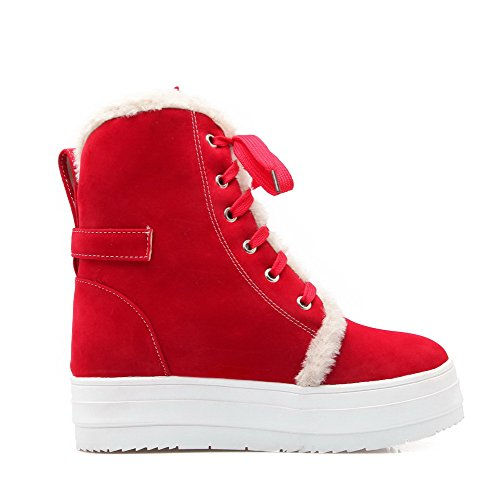 Red Toe Boots Allhqfashion Closed Heels Frosted Women's Lace up Kitten Solid Round X6vP6Hr
