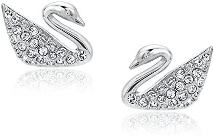 Swarovski Crystal Swan Pierced Earrings