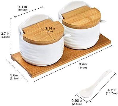 Fanuse Azucarero de Cer/áMica con Tapas y Cucharas-Contenedor de Condimento de Porcelana Salero para Cocina Tarro de Especias con Etiquetas de Pizarra