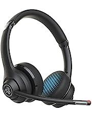 JLab Go Work draadloze hoofdtelefoon met microfoon - PC Headset met 45 + speeltijd en meerdere aansluitingen via bluetooth naar computer en mobiel - bedrade of draadloze hoofdtelefoon met microfoon voor laptop