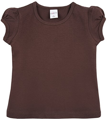 Lovetti Girls' Basic Short Puff Sleeve Round Neck T-Shirt 12 Brown