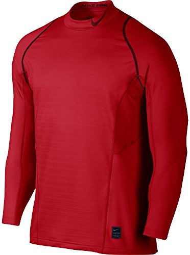 (Nike Mens Pro Hyperwarm Fitted Long Sleeve Shirt(Univers Red/Reflec Silv, M))