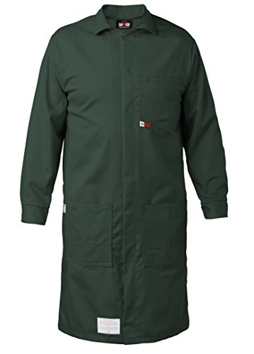 Nomex Lab Coats (GREEN - LARGE - FR LAB COAT - 6oz. NOMEX III3 Flame Resistant Fabric - Lab or Classroom Ready - HRC 1 - APTV= 5.7 cal/m2 - MADE IN THE U.S.A.)