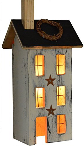 (Furniture Barn USA American Primitive Rustic Light Up Mini Saltbox House - Multiple Paint Options!)