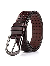 Dertring Hollow Belt, Leather Casual Scrub Pin Buckle Decorative Belt (Color : B, Size : M)