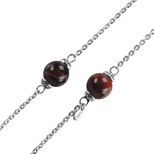 Aura Sterling Silver 36 Inch Necklace with Red Tiger Eye ...