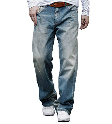 Distressed Relaxed Fit Jeans - Men's Premium Relaxed Fit Straight-Leg Jean Washed Denim Loose Fit Work Dungaree Nostalgic Blue 34