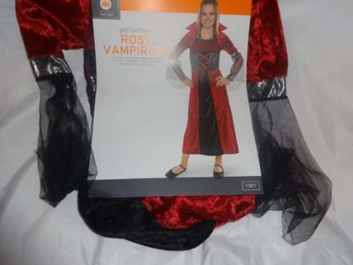ROSY VAMPIRESS Vampire Dress With Attached Collar Med Or Small Child Costume (Girls Medium Size 6-8)