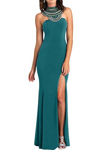 ivyd ressing Mujer de gran calidad brillantes Ranura rueckenfrei gasa Prom vestido fijo para vestido de noche Verde