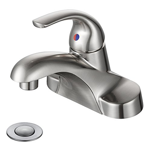Desfau Brushed Nickel Bathroom Sink Faucet, 4 Inch Single Handle 3 Hole Bathroom Faucet with Metal Lavatory Drain Assembly, Widespread Bathroom (Brushed Nickel Sink Faucet)