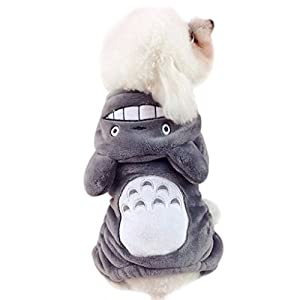 FakeFace Lovely Cartoon Totoro Halloween Pet Costume Autumn Winter Warm Coral Fleece Pet Dog Cat Puppy Teddy Hoodie Jumpsuit Outfit Sweater Clothes Hooded Coat Apparel - Grey