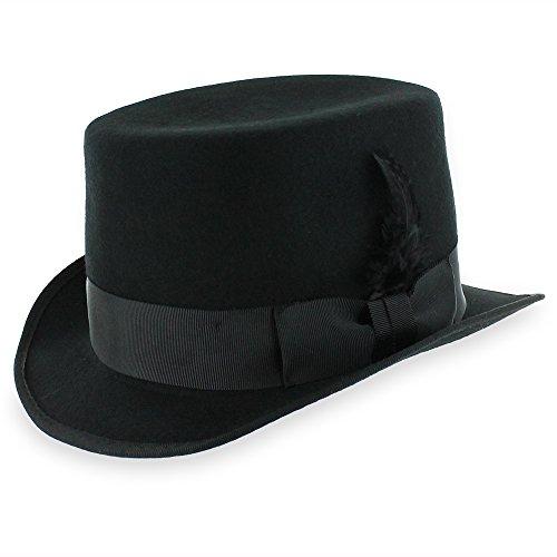 Belfry Slash Crushable Soft Men's Wool Felt Top Hat in Black (Large)