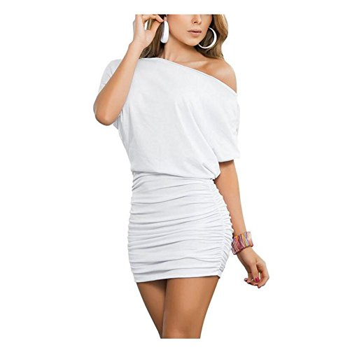 Anxihanee Women's Sexy Off Shoulder Party Club Ruched Bodycon Mini Dress (XXL, ()