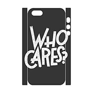 3D Case For Iphone 4/4S Cover Case Who Cares, Case For Iphone 4/4S Cover Case Typography, [White]