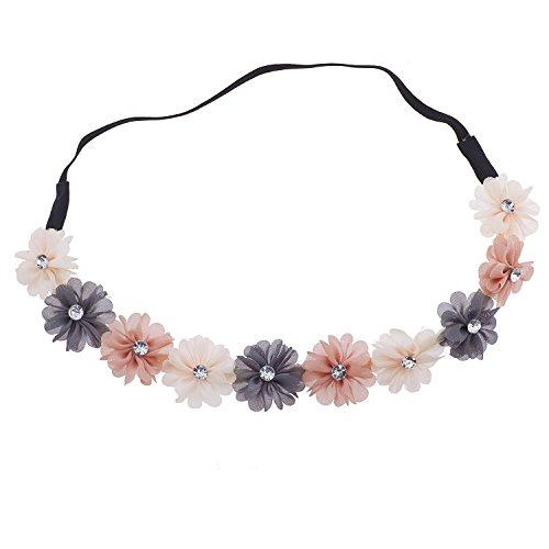 Lux Accessories Multi Purple Chiffon Rhinestone Flower Crown Headband -