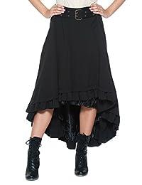 Women's Plus Belt Steampunk Victorian Inspired Ruffle Asymmetric Petticoat Skirt