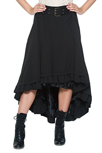 Women's Plus Belt Steampunk Victorian Inspired Ruffle Asymmetric Petticoat Skirt (1XL, Black)