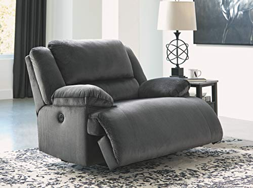 Signature Design by Ashley Clonmel Power Wide Recliner, Charcoal