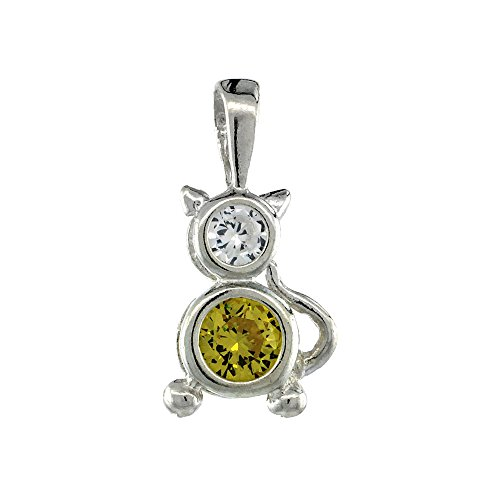 Sterling Silver Birthstone Cat Brat Charm November Citrine Color Cubic Zirconia