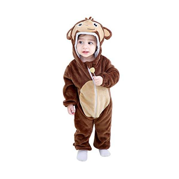 Michley Bambini Pagliaccetti Unisex neonata con Cappuccioanimali di Flanella per 0-3Anni 1