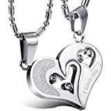 Libaraba Stainless Steel I Love You Romantic Heart Couple Necklace Set,Heart Necklaces Set for Him and Her (Style 2 Silver+Silver)