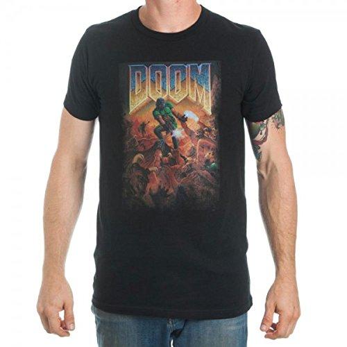 Bioworld Doom Video Game Cover Art Men's Black T-Shirt (Cover Art T-shirt)