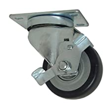 RWM Casters VersaTrac 27 Series Plate Caster, Swivel with Brake, Urethane on Polypropylene Wheel, Ball Bearing, 225-Pounds Capacity, 3-Inch Wheel Dia, 1-1/4-Inch Wheel Width, 4-1/4-Inch Mount Height, 3-3/4-Inch Plate Length, 2-5/8-Inch Plate Width