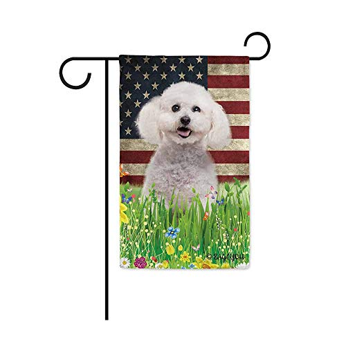 - BAGEYOU Cute Puppy Bichon Frise Garden Flag Lovely Pet Dog American US Flag Wildflowers Floral Grass Spring Summer Seasonal Decorative Patriotic Banner for Outside 12.5x18 inch Printed Double Sided